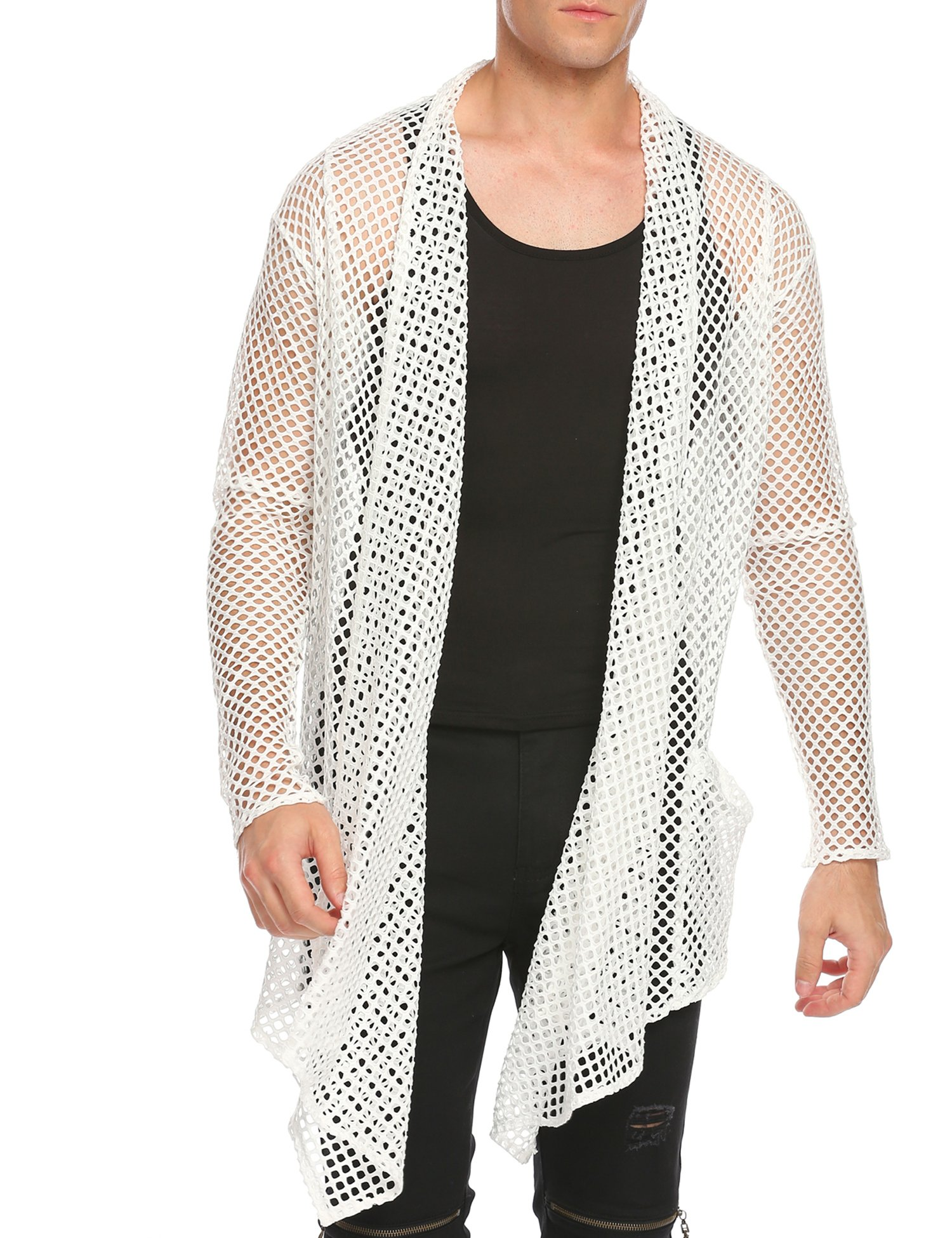 COOFANDY Men's Ruffle Shawl Collar Sleeveless Long Cardigan Vest (Medium, White(Long Sleeve net))