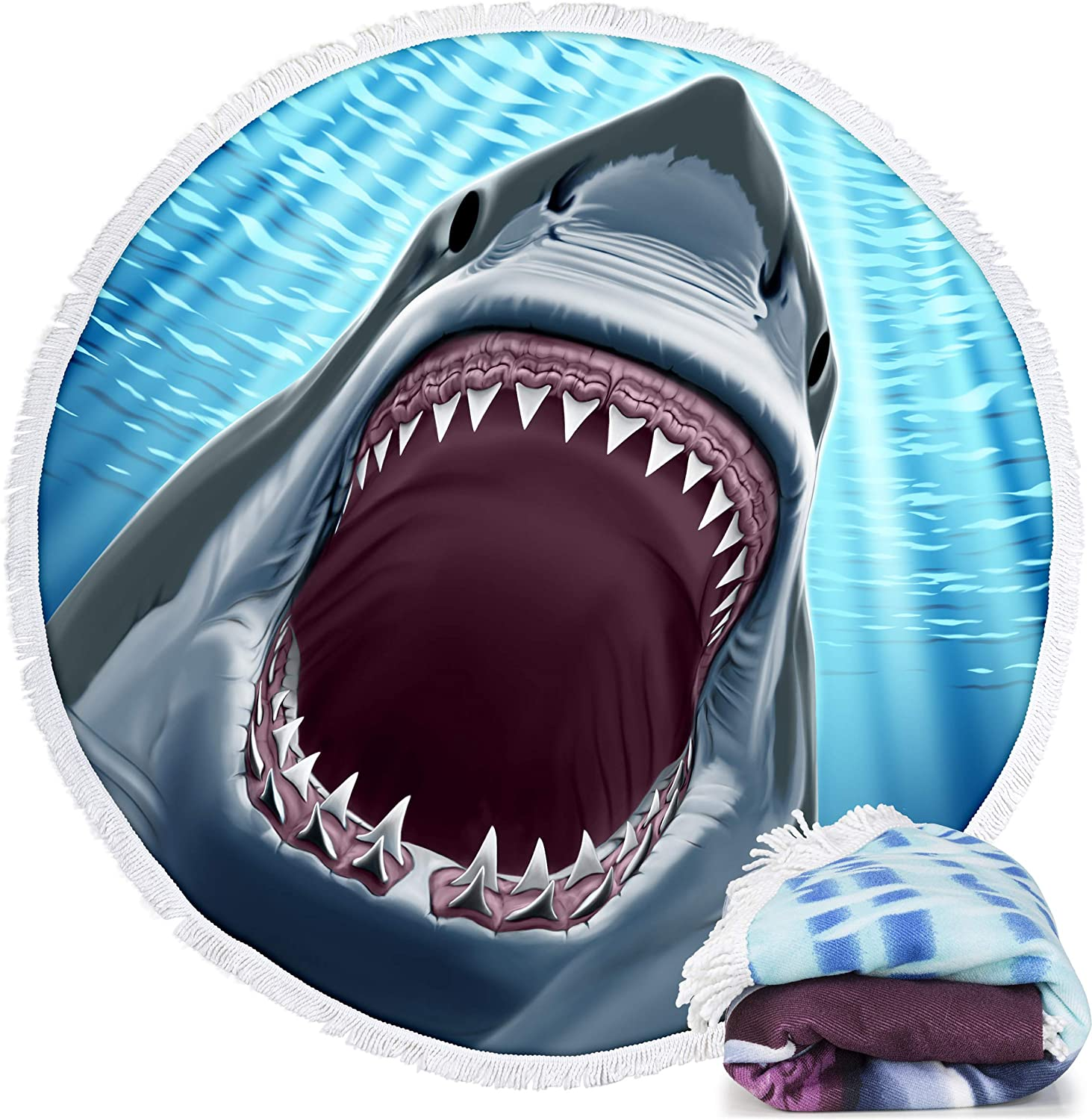 "Dawhud Direct Microfiber Round Large Plush Beach Towel Blanket, 60"" D with Fringe (Great White Shark)"