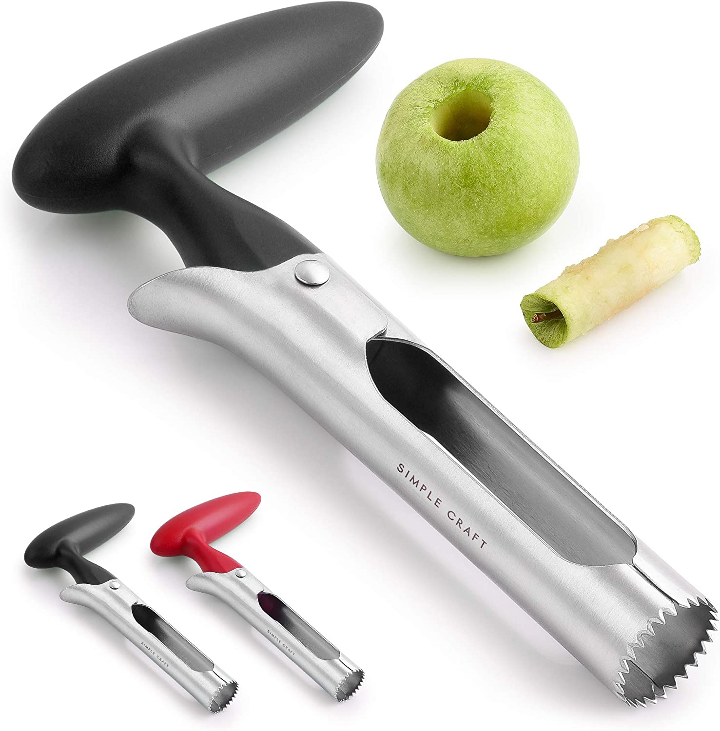 Simple Craft Apple Corer - Premium Stainless Steel Apple Corer Tool For Removing Cores & Pits - Sharp Serrated Core Remover For Apples & Pears (Black)