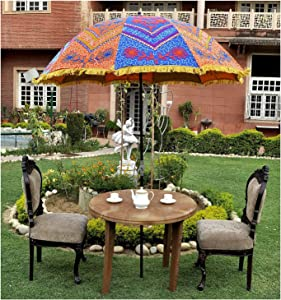 Decorative Traditional Embroidered Outdoor Large Garden Umbrella Parasol Large