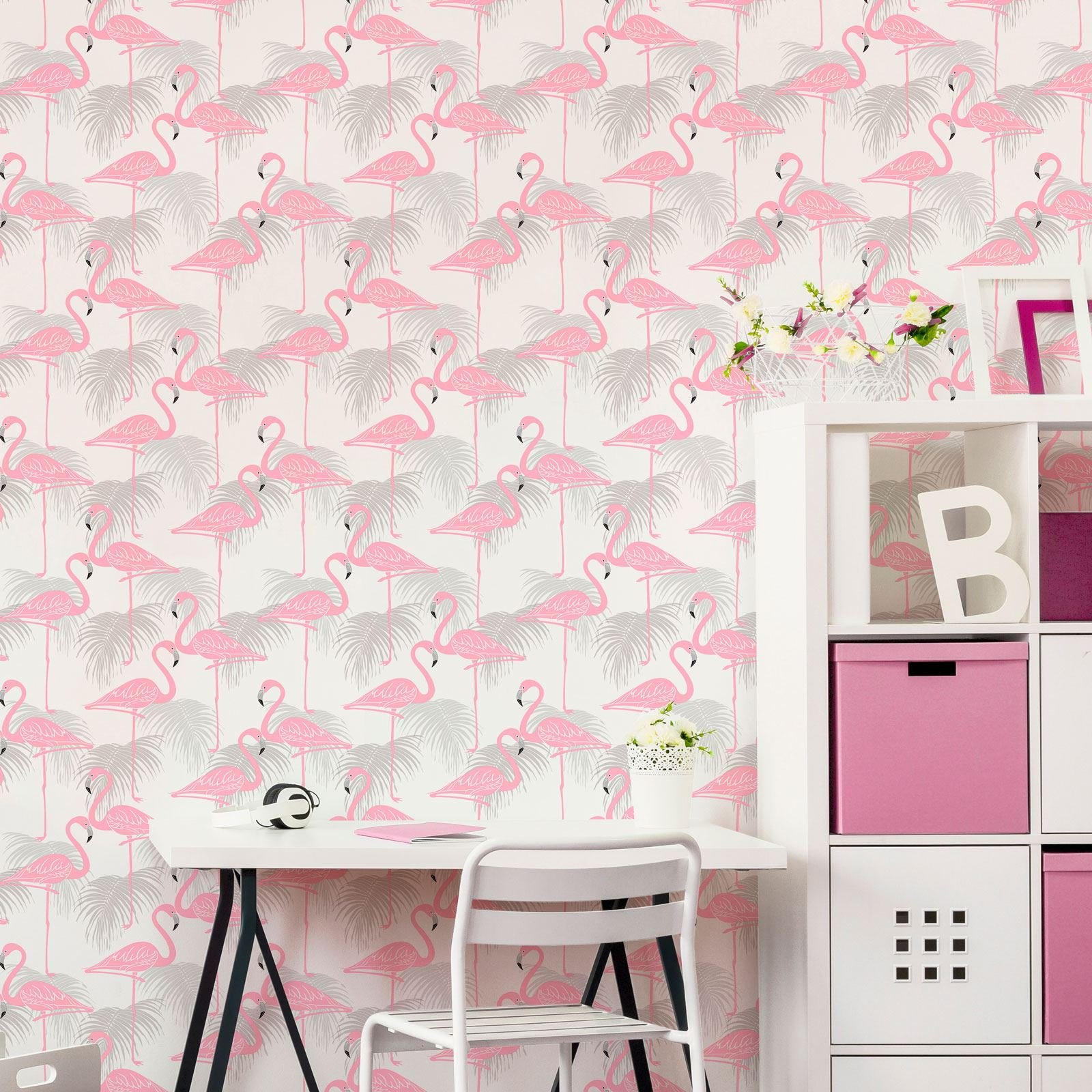 Flamingo and Palm Leaves Wallpaper - Pink and Grey - Fine Decor FD42215