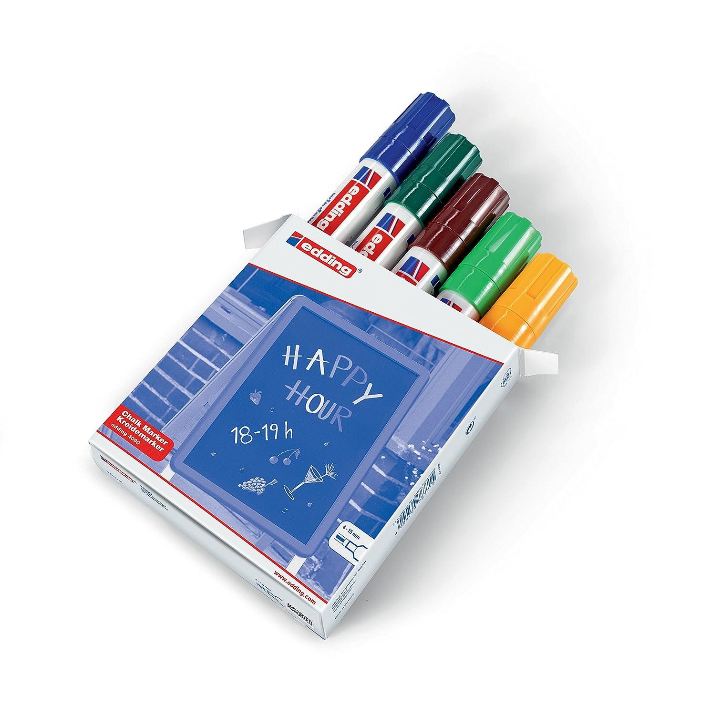 edding 4090-099 - Caja con 5 marcadores de tiza líquida para pizarras y vidrio con punta biselada, colores azul, verde, marrón, verde claro y naranja ...