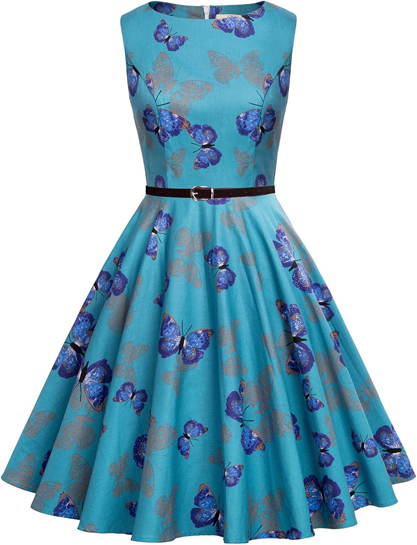 GRACE KARIN 1950s Vintage A-Line Cotton Hepburn Swing Fancy Party Dress with Belt XS~Plus Size 4X