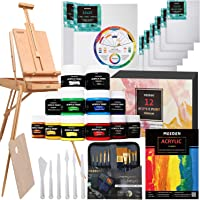 MEEDEN 40 Pcs Deluxe Artist Painting Kit with French Style Easel, 12-Color Acrylic Paint Set, 10-Pcs Paintbrushes, 6-Pcs Canvas Panel, 2-Pcs Stretched Canvas, 1-Pcs Wood Palette, 1-Pcs Acrylic Painting Pad, 6-Pcs Palette Knife Set, 1-Pcs Color Mixing wheel, Nice Gift for Artists, Beginner & Adults