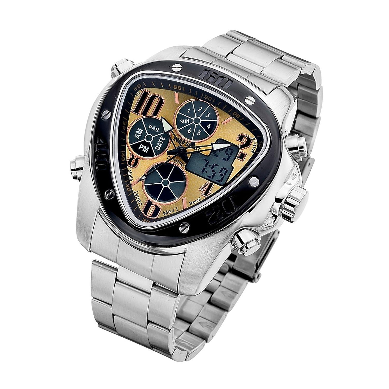 Euro Spirit New Arrival Luxus Silber Gold Herren Quarz Armbanduhr Alarm Datum