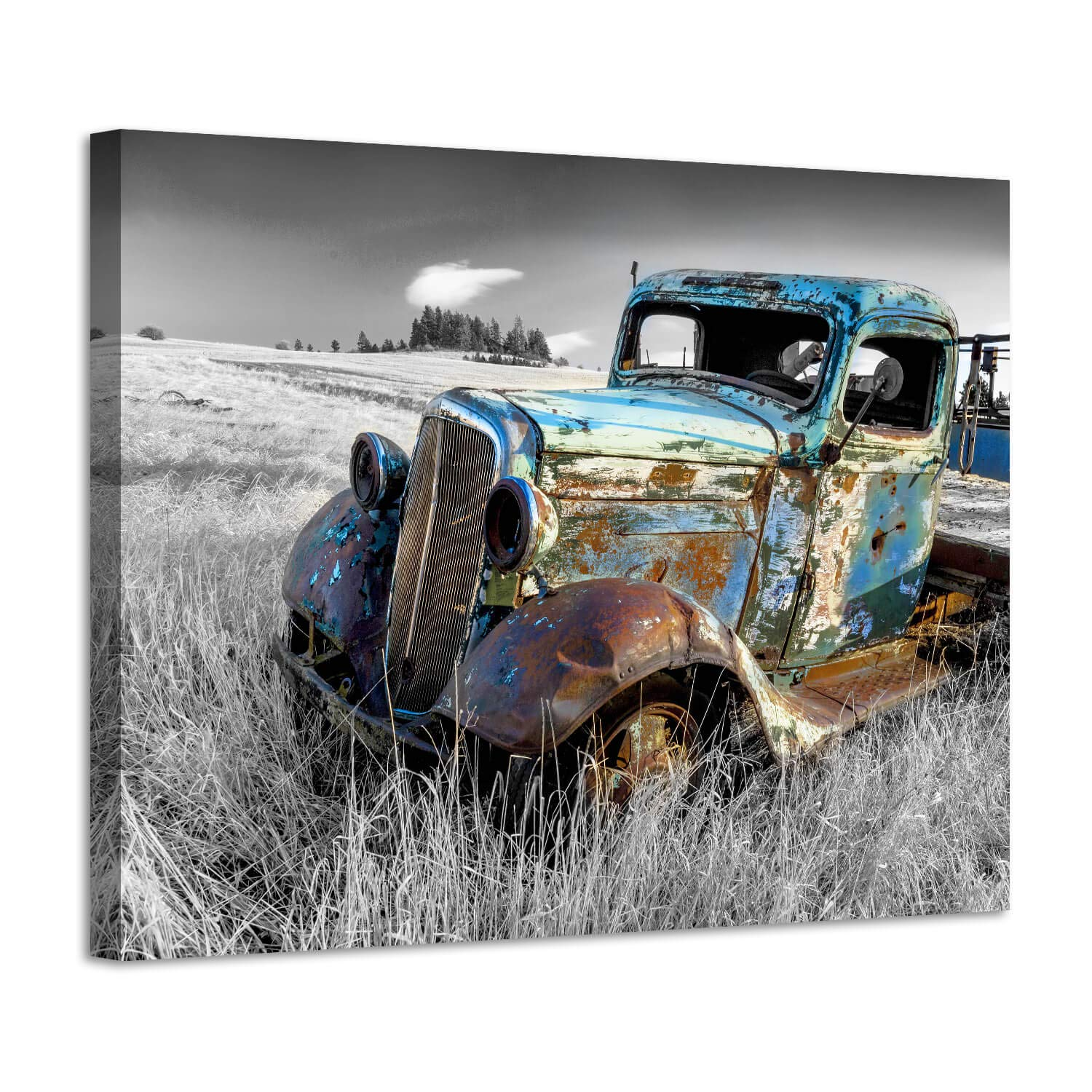 """Rusty Car Canvas Wall Art: Old Truck Pictures Paintings Print on Canvas Artwork for Bedroom (16""""W x 12""""H,Multi-Sized)"""