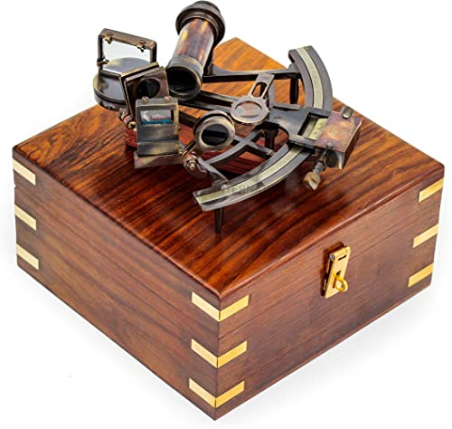 Nagina International Nautical Pirate s Maritime Astronomical Brass Sextant with Decorative Anchor Inlaid Rosewood Storage Wooden Box Exclusive Decor Gifts 9 Inches, Antique Brass