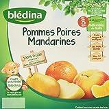 Blédina Coupelles de fruits Pommes Poires Mandarines dès 8 mois 4 x 100 g - Lot de 6