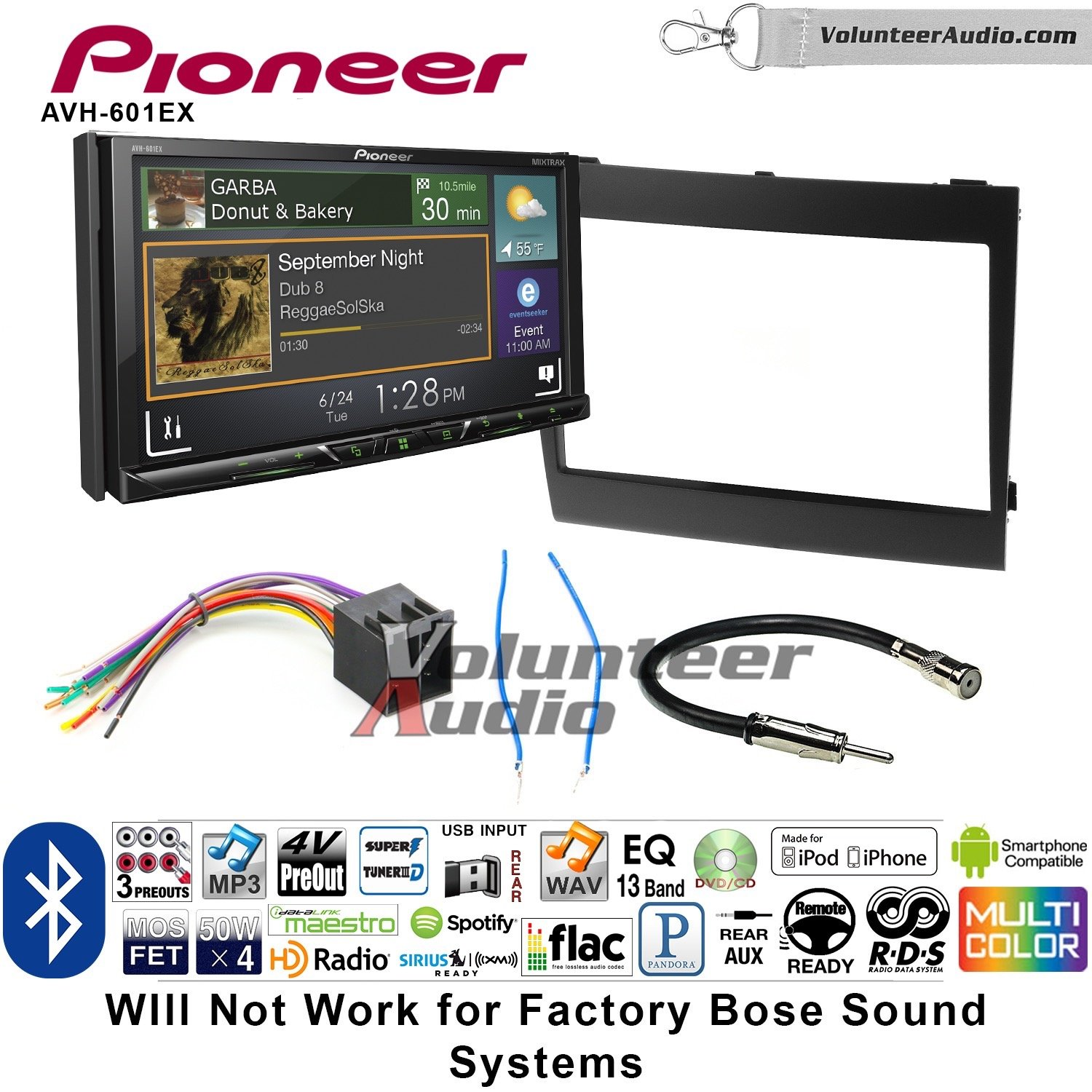 Volunteer Audio Pioneer AVH-601EX Double Din Radio Install Kit with CD/DVD Player Bluetooth USB/AUX Fits 2004-2006 Pontiac GTO