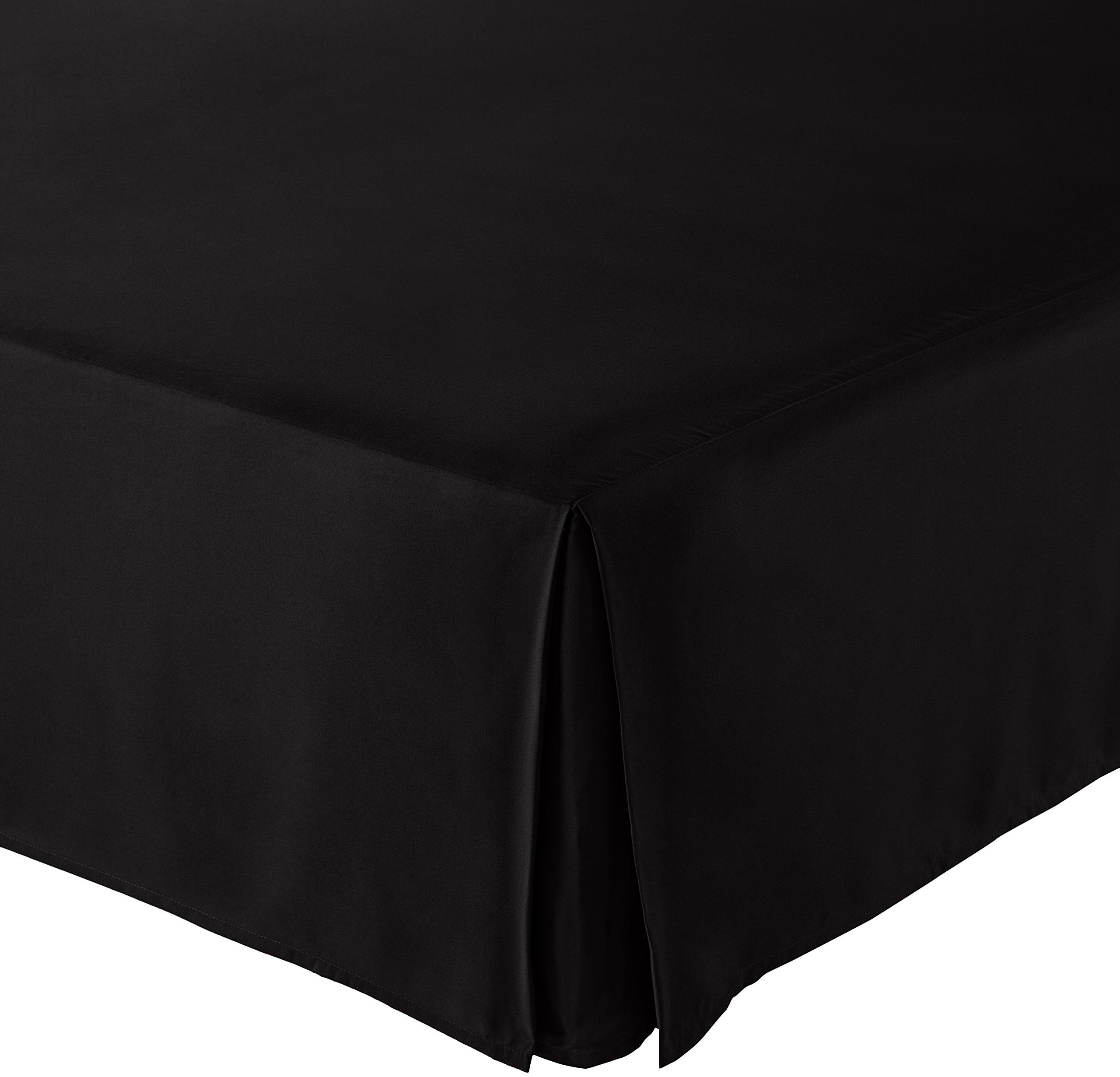 AmazonBasics Pleated Bed Skirt - Queen, Black
