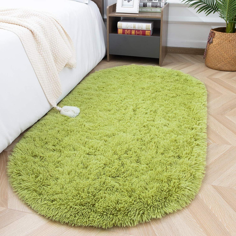 ISEAU Oval Fluffy Rug Carpets, Modern Plush Shaggy Area Rug for Kids Bedroom Extra Comfy Cute Nursery Rug Bedside Rug for Boys Girls Room Home Decor Mats, 2.6 x 5.3ft, Green
