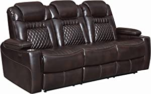 Coaster Home Furnishings Korbach Upholstered Reclining Seat and Power Headrest Espresso Sofas