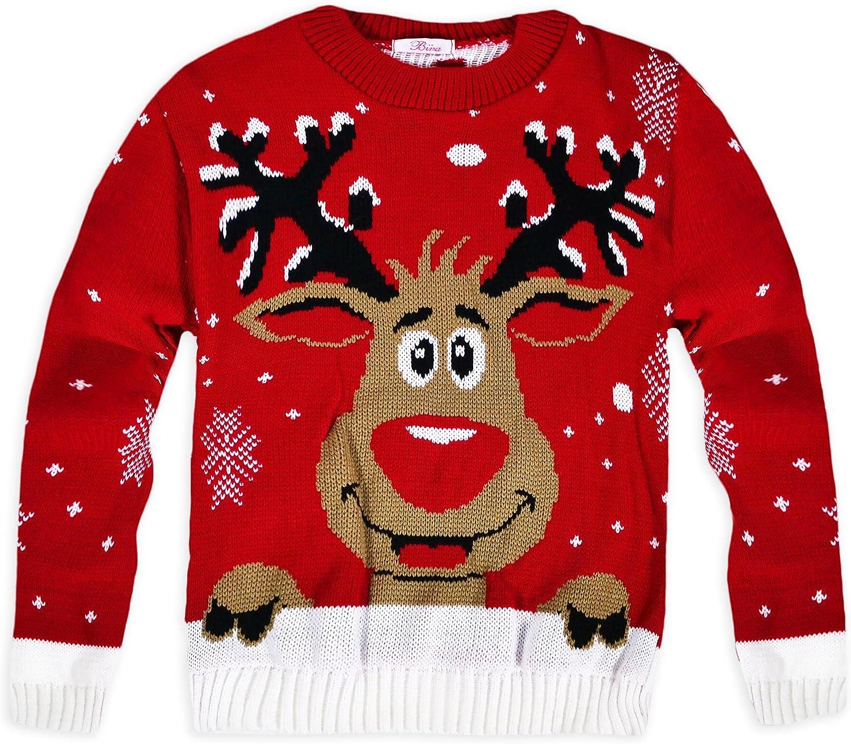 dise/ño navide/ño Su/éter de punto para ni/ños Rudolph rojo 5 a/ños unisex
