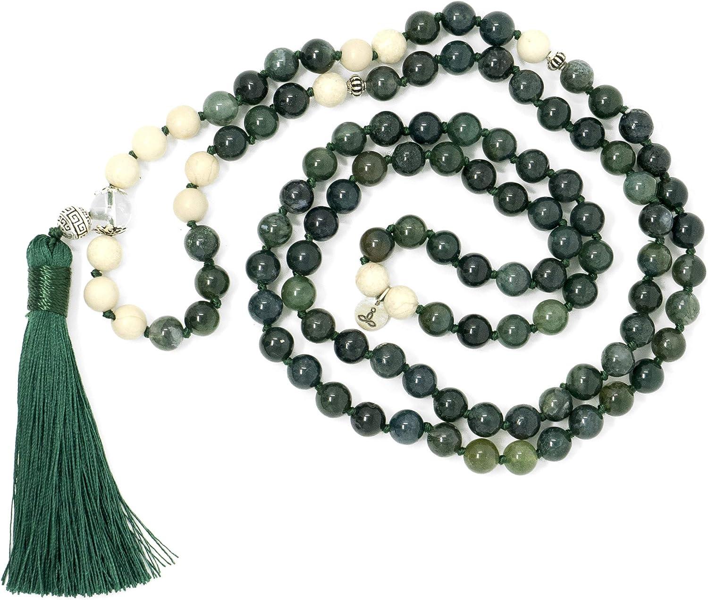 Larimar Accessories   Premium 8MM 108 Mala Beads Necklace with Tassel   Mala Gemstone Necklace   Mala Yoga Necklace   Mala Meditation Beads   Jewelry for Women Men