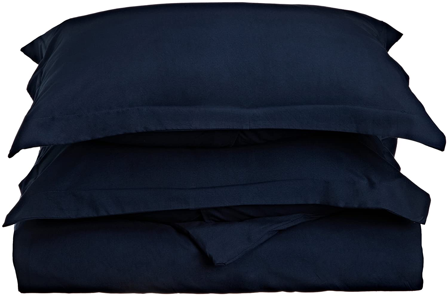 Lamma Loe's Silky Soft Solid Microfiber Luxury 3-Piece Duvet Cover Set, Includes Pillow Shams-King, Dark Navy Blue