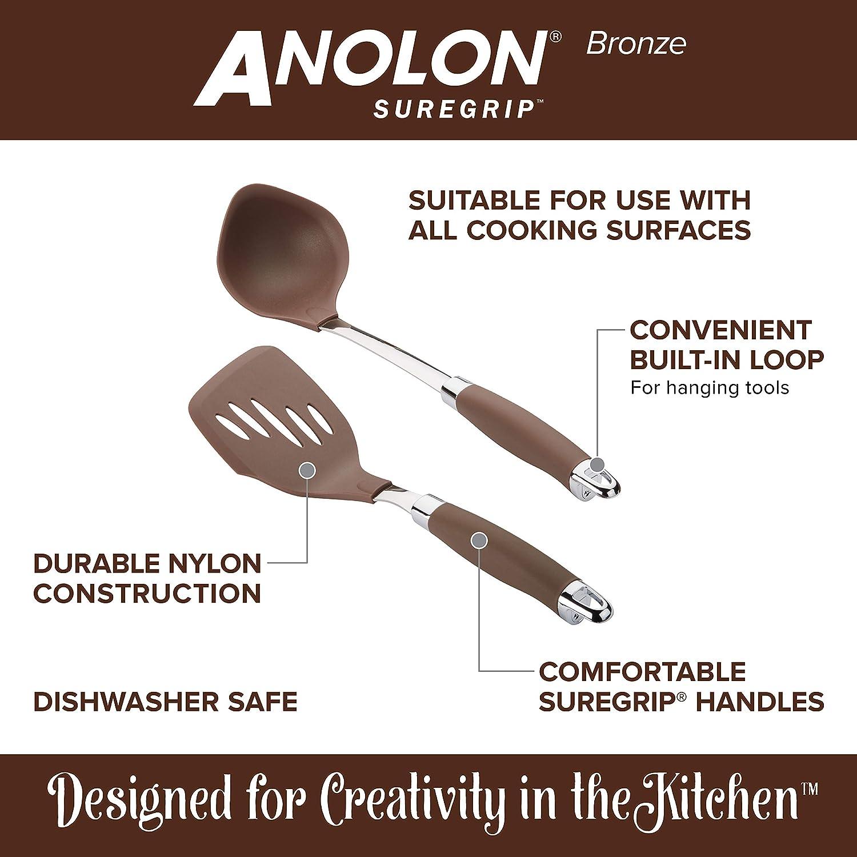 Anolon 46346 Suregrip Nonstick Utensil Kitchen Cooking Tools Set Nylon Bronze Brown Amazon Co Uk Kitchen Home