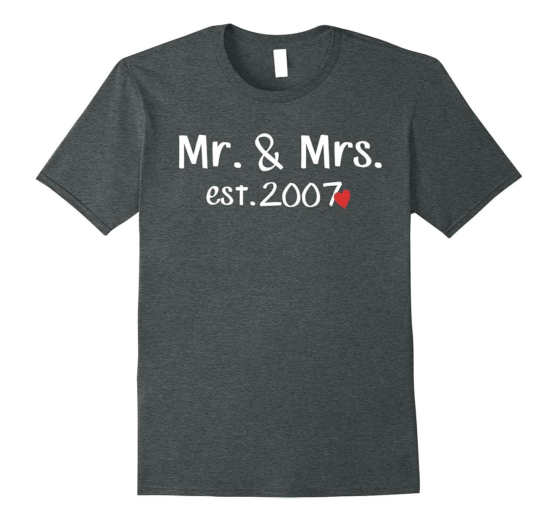 Mr  Mrs est 2007 Love Anniversary Husband Wife Couple T-Vaci