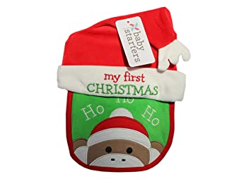 Amazon.com  Baby Sock Monkey Bib and Hat with Embroidered My First ... 26d1e46196a