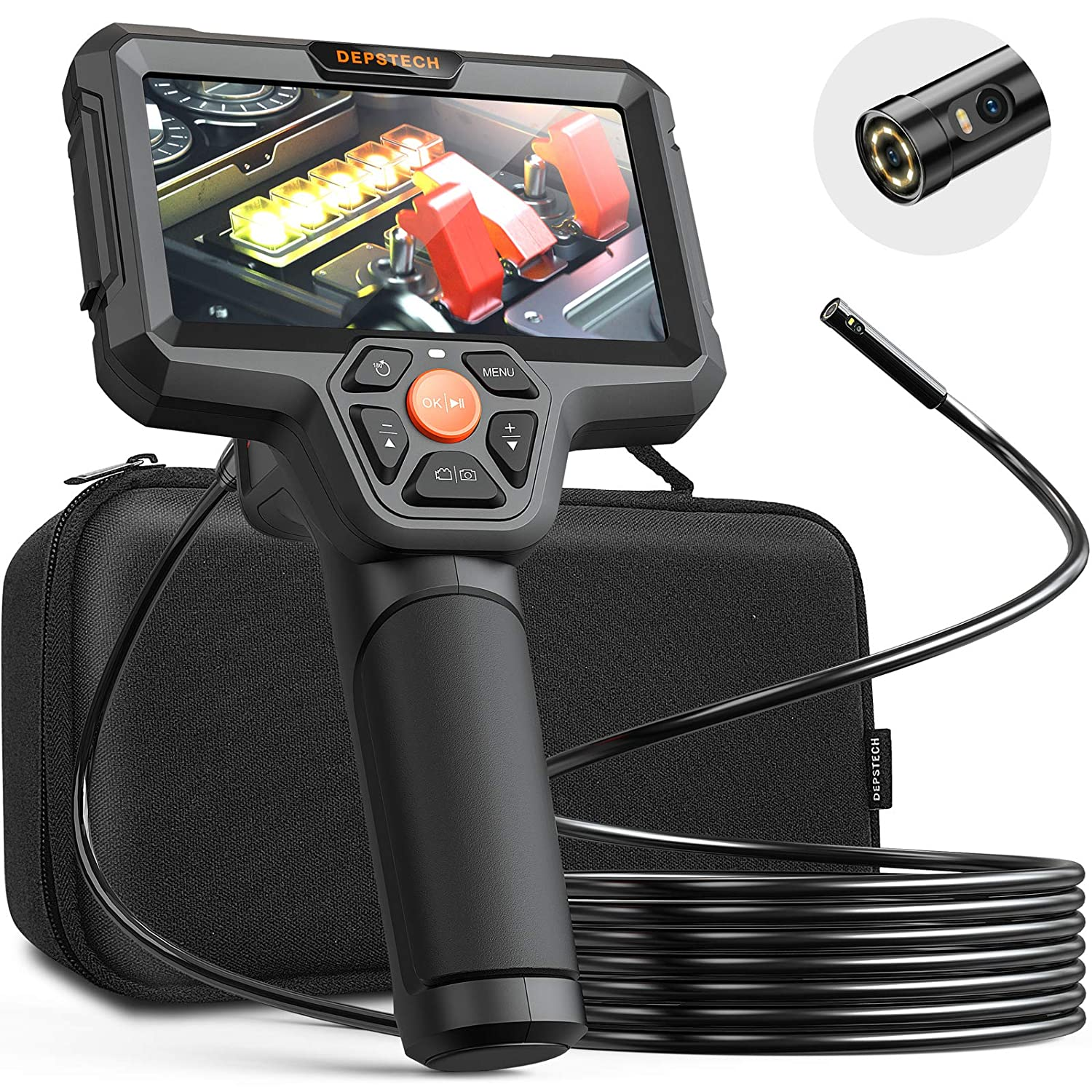 DEPSTECH Dual Lens Inspection Camera, Endoscope with 5