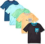 Amazon Brand - Spotted Zebra Boy's Toddler & Kids 5-Pack Short-Sleeve T-Shirts