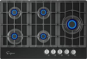 Empava 30 Inch Gas Stove Cooktop LPG/NG Convertible with 5 Italy SABAF Burners Tempered Glass in Black