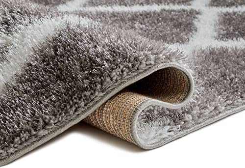 Well Woven Soft Artisan Corsa Miraculous Modern Shag Trellis Geometric Grey Plush Area Rug 6 7 x 9 3