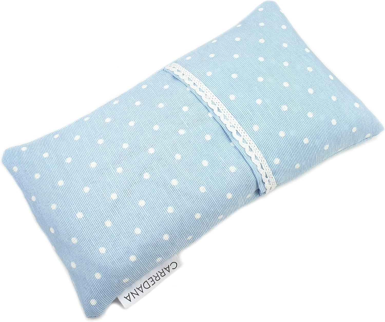 Saco térmico anti-cólicos bebé de semillas de trigo y lavanda.22 x 11cm (Azul topos con puntilla)