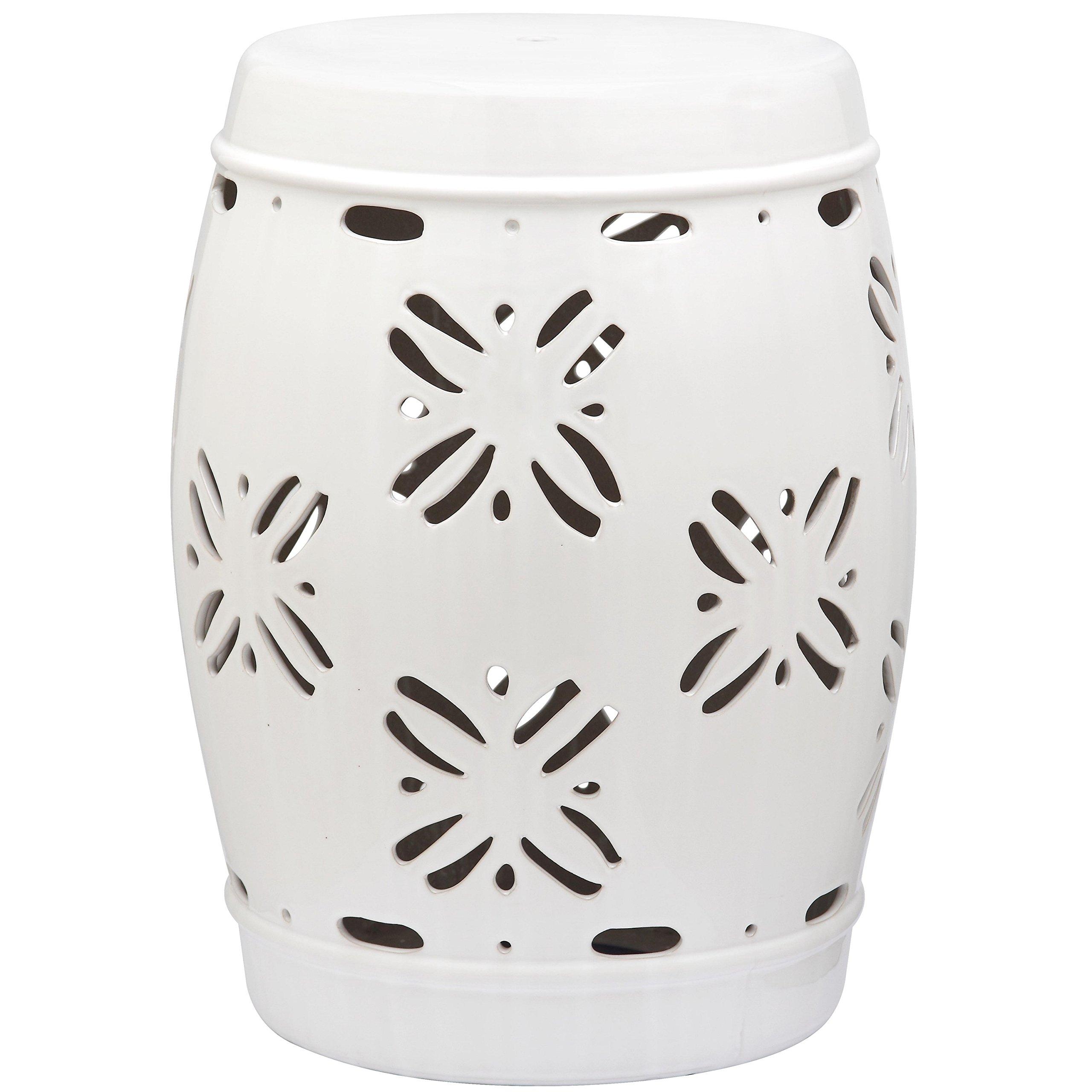 Safavieh Castle Gardens Collection Sakura White Glazed Ceramic Garden Stool