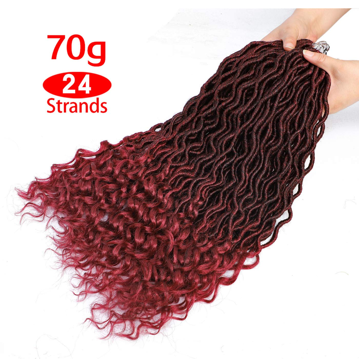 Karida 6Pcs/Lot Curly Faux Locs Crochet Hair Deep Wave Braiding Hair With Curly Ends Crochet Goddess Locs Synthetic Braids Hair Extensions (18inch, T1B/Bug)