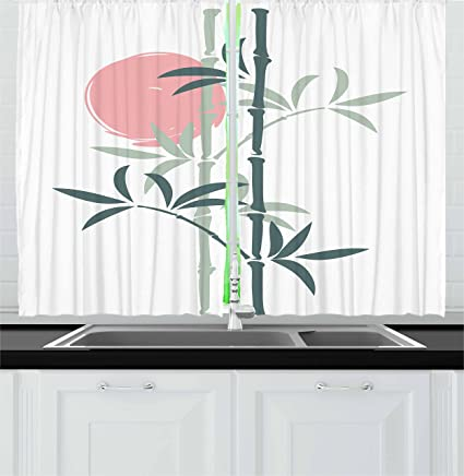 lunarable japanese kitchen curtains oriental with bamboo flag of land of rising sun asian design - Sun Asian Kitchen