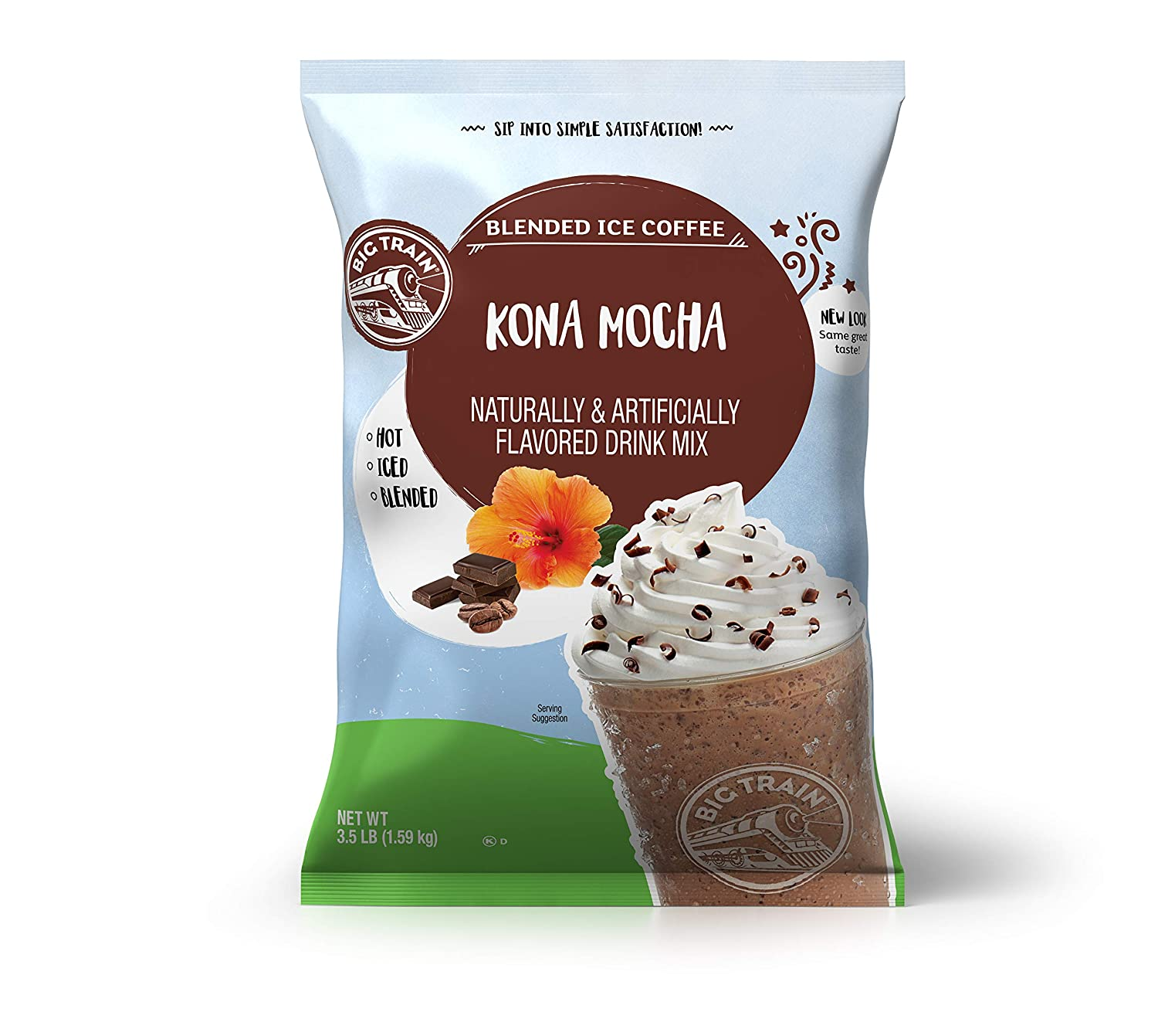 Big Train Blended Ice Coffee, Kona Mocha, Powdered Instant Coffee Drink Mix, 3.5 Pound (Packaging May Vary)