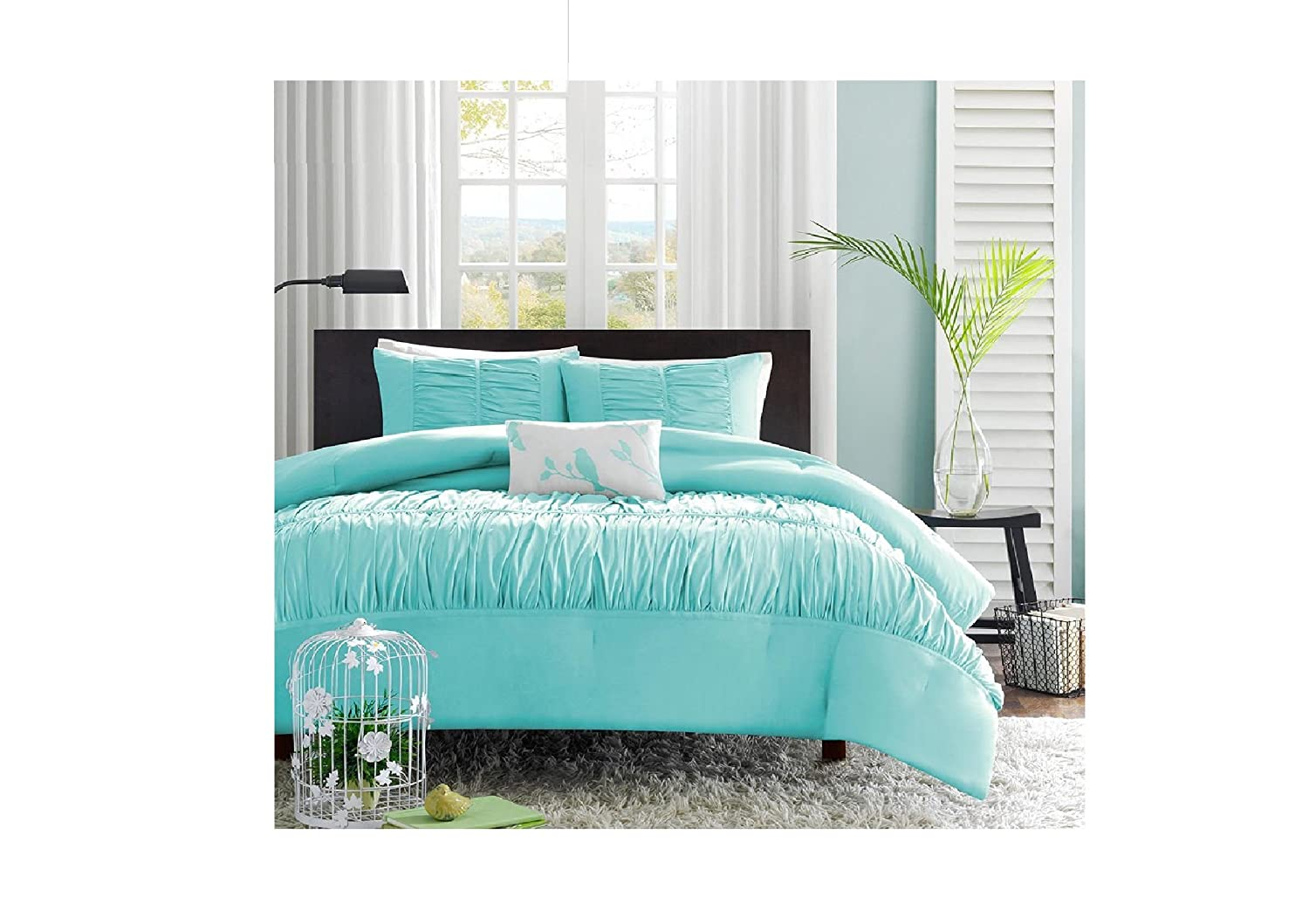 sets utagriculture tiffany navy set aqua blue comforter com queen