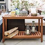 Best Choice Products 48-inch 2-Shelf Indoor Outdoor Multifunctional Eucalyptus Wood Buffet Bar Storage Console Table Organizer, Natural