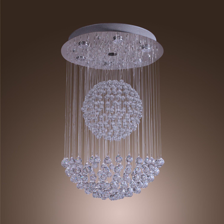 LightInTheBox 50W Modern Crystal Pendant Light with 7 Lights and Crystal Beaded Globe Decor (GU10 Base) Morden Simple Home Ceiling Light Fixture by LightInTheBox
