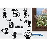 Adesivi vinile decorativo wall decor sticker per spina e interruttore Gatti Giocherelloni. Adesivo4You