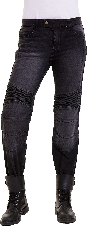 Qaswa Femme Moto Jeans Motards Pantalon Renforc/ée Aramide Protection Motorcycle Pants
