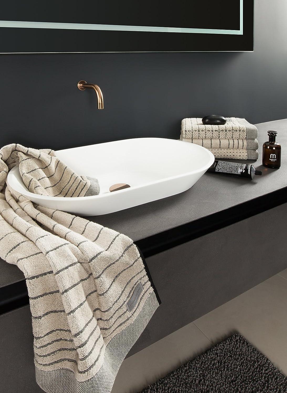 80 /% Coton // 20 /% Lin Nature // Black M/ÖVE Eden Gant de Toilette avec Passepoil 15 x 20 cm Beige Fabriqu/é en Allemagne
