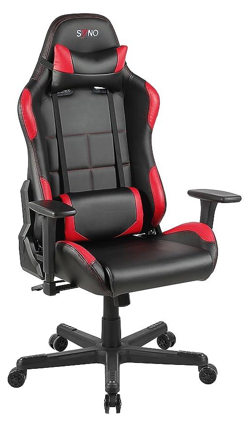 Racing Bürostuhl Chefsessel Racer Sessel  Kunstleder Höhenverstellbar  150kg