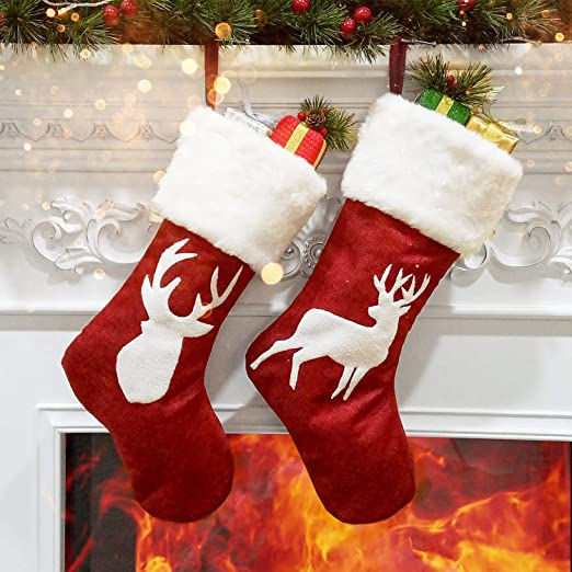 BLACK Cotton Christmas Stockings New 17 Inches Long
