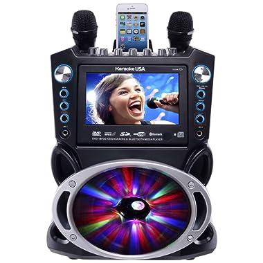 Karaoke USA GF842 DVD/CDG/MP3G Karaoke Machine with 7  TFT Color Screen, Record, Bluetooth and LED Sync Lights