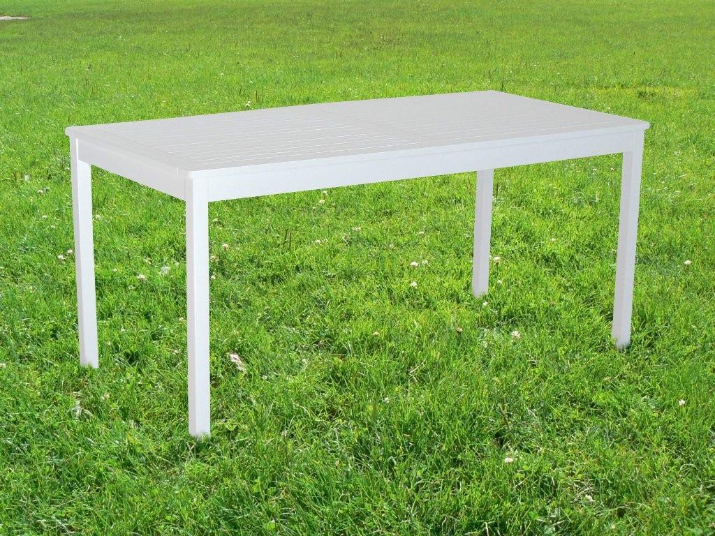 Aalborg Gartentisch 165x80 cm / Tisch Holztisch Gartenmöbel Esstisch Akazienholz weiss