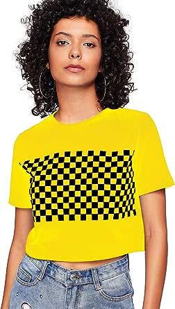 HUILAN Women's Summer Short Sleeve Checkered Plaind Crop T-Shirt Tops