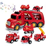 SAITI Fire Truck Car Toys Set with Sound & Lights, 1 Transport Cargo Truck, 2 Emergency Rescue Vehicles, 1 Helicopter, 1 Airp