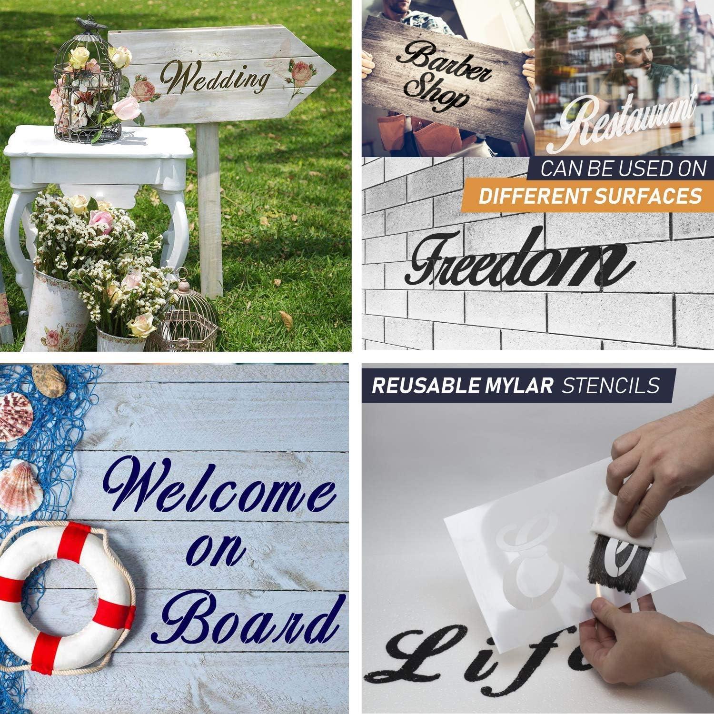 5 Includes Alphabet /& Numbers Multi Font Letter Reusable Stencils Pack