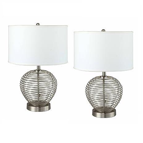 AEO AEO-LT6291-2PK Table Lamp Set of 2, White Shade & Metal Wire ...