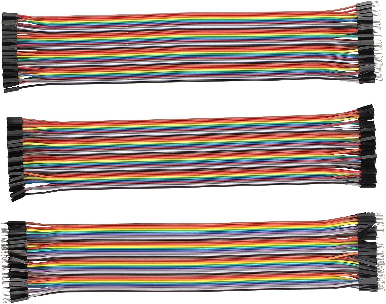 40/femelle-femelle Multicolore 30/cm 40/m/âle-m/âle HALJIA Lot de 120/c/âbles jumper DuPont pour platine d/'exp/érimentation breadboard 40/m/âle-femelle