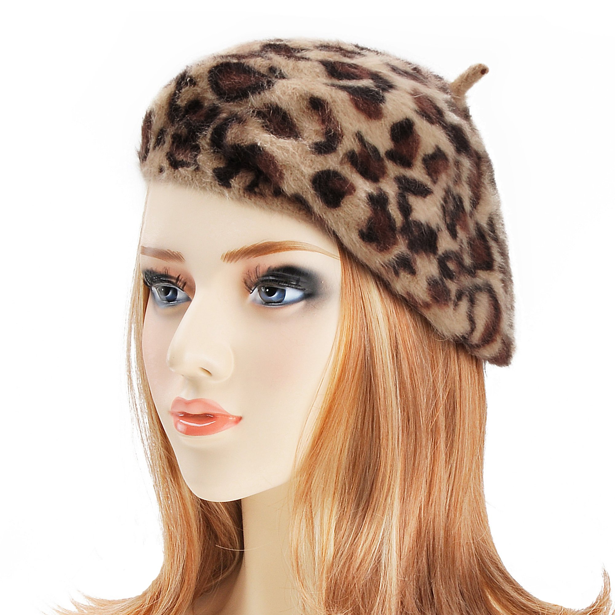 ZLYC Womens Rabbit Fur French Beret Hat Leopard Print by Brown