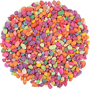Lainrrew 2.2 lb Decorative Rocks, Aquarium Gravel Mini Rainbow Pebbles Decorative Stones Succulent Cactus Bonsai Gritty Rocks for Potted Plants, Aquariums, Lanscaping, Vase Fillers (6-9mm)