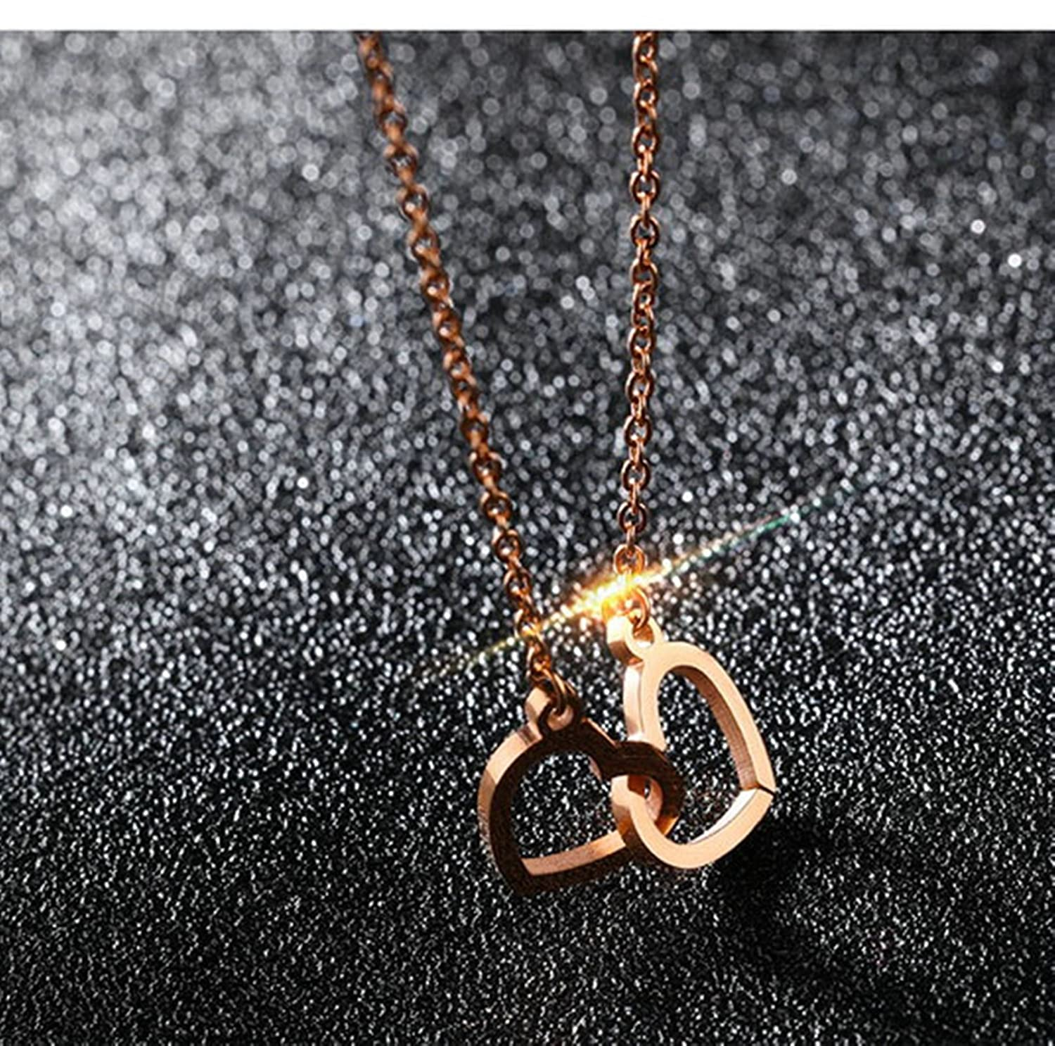 Women Stainless Steel Pendant Necklace Heart Shape Rose Gold 1.2CM Gnzoe Jewelry