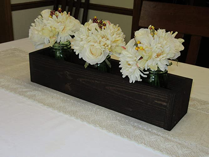 Surprising Dark Walnut Stained Wood Planter Box Mason Jar Centerpiece Long Wood Box Candle Holder Wedding Centerpiece 20 Inches Long Download Free Architecture Designs Viewormadebymaigaardcom